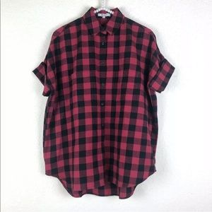 [Madewell] NWT Red Plaid Button Up Top